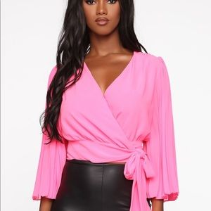 Let's Make This Work Wrap Top- Neon Pink